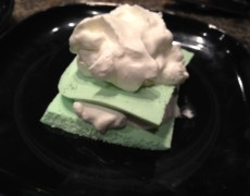Lime mock cheese cake and whipped cream