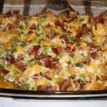 "Loaded Cauliflower ""Potato"" and Buffalo Chicken Casserole"